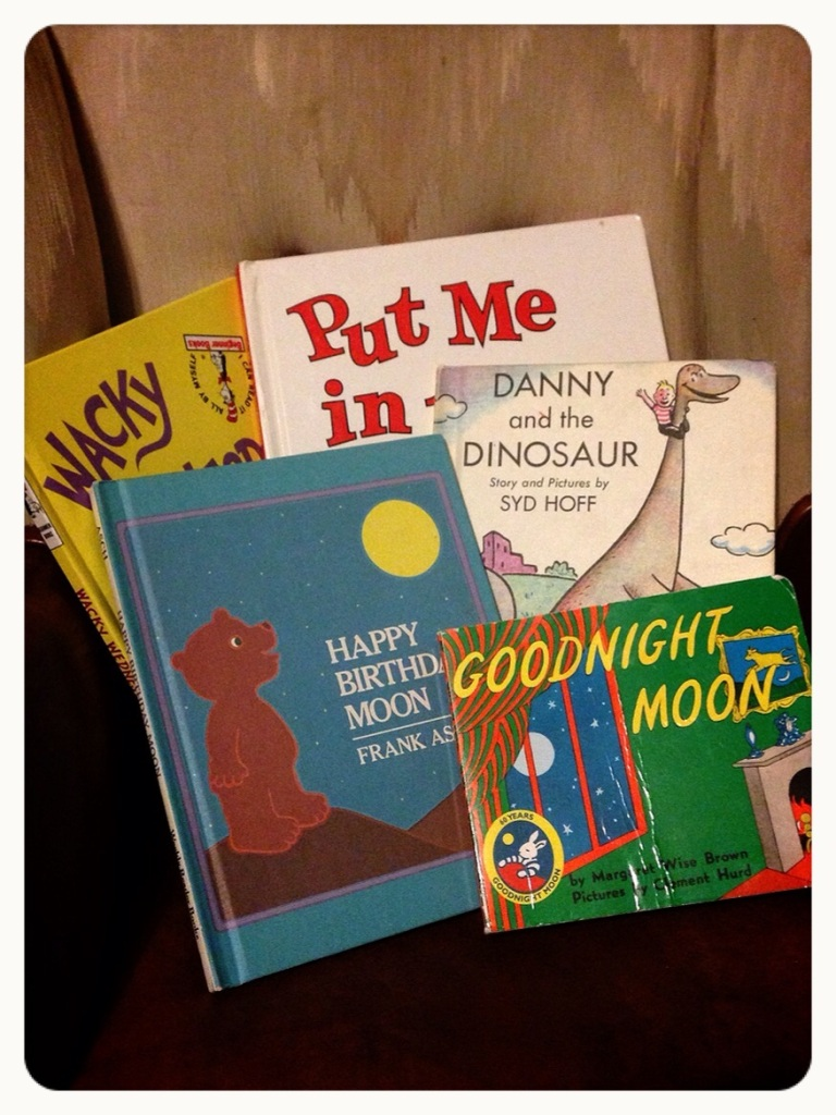 Good Night Moon by Margaret Wise Brown, Happy Birthday Moon by Frank Asch, Danny and the Dinosaur by Syd Hoff, Wacky Wednesday by Theo LeSieg, Put Me in the Zoo by Robert Lopshire