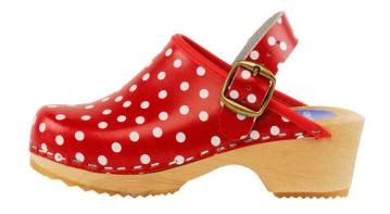 Cape Clogs – Red Polka Dot $50