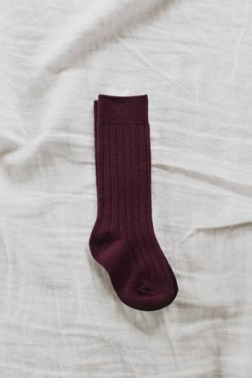 Jaime Kay – Rib Knee High Socks in Fig $11