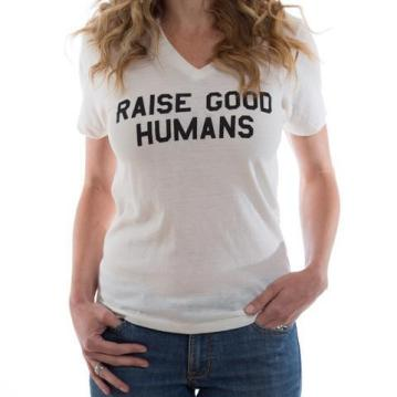 Raise Good Humans V-neck Tee $29